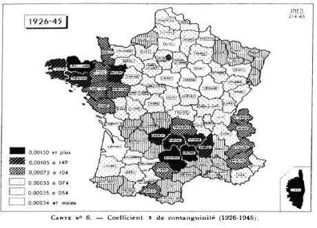 france - coefficients of inbreeding (1926-1945)