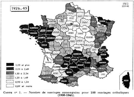 france - consanguineous marriages - roman catholics - 1926-1945