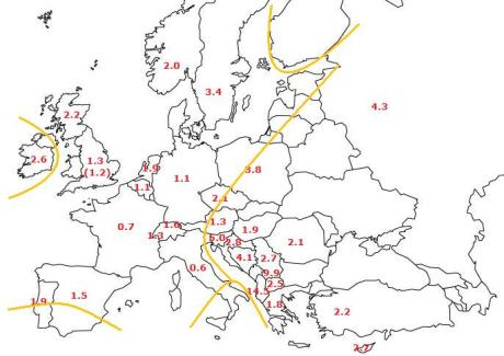 europe map - ralph & coop ibd rates + hajnal line