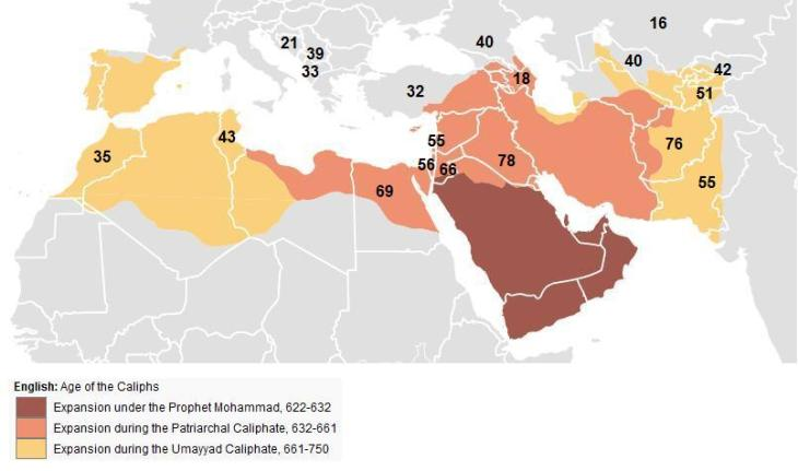 map of expansion of caliphate - pew honor killings women
