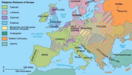religious divisions of europe map + puritans