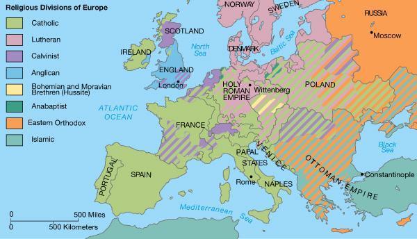religious divisions of europe map + puritans