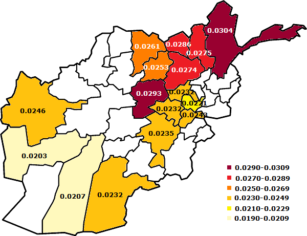 Afghanistan provinces - inbreeding coefficients - colored