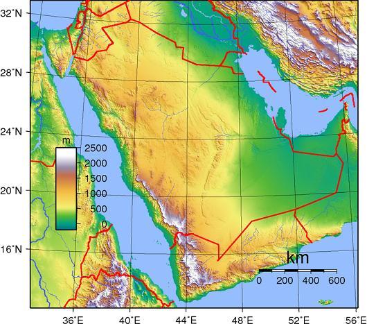 saudi arabia - topography