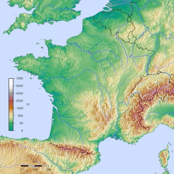 france - map - topography