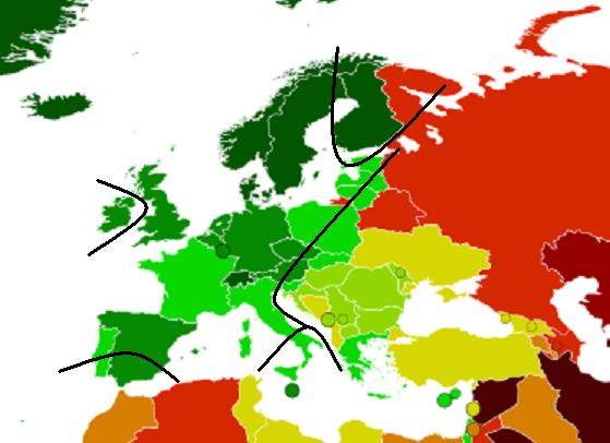 democracy index - europe - 2012 + hajnal line