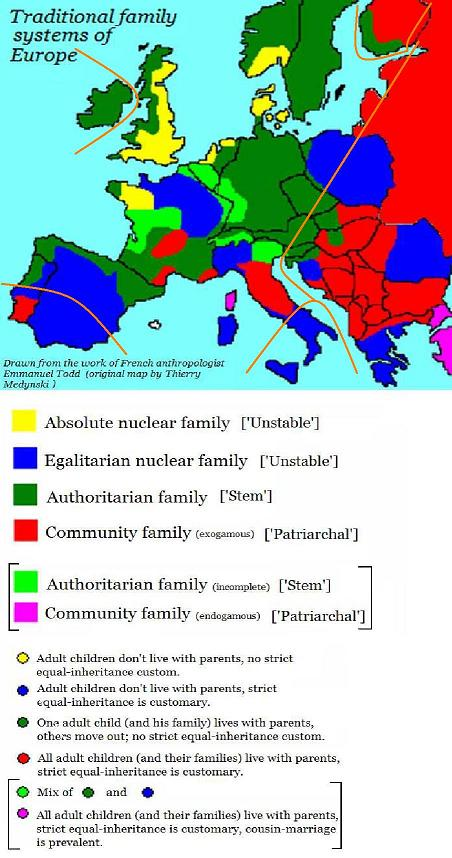 todd - traditional family systems of europe - hajnal line sm