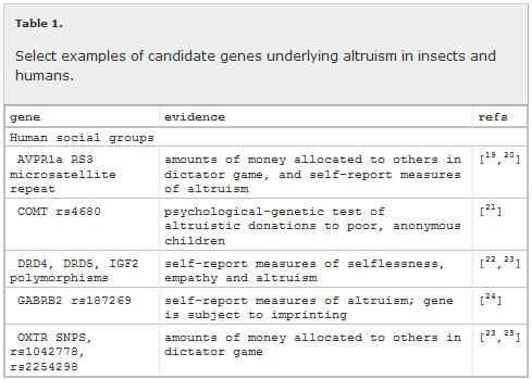 genes underlying altruism - table