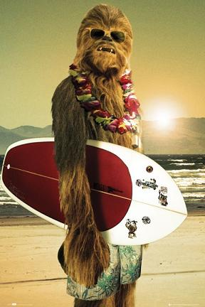 chewie and surfboard