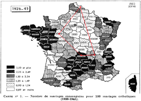 france - consanguineous marriages - roman catholics - 1926-1945 + le parallélogramme