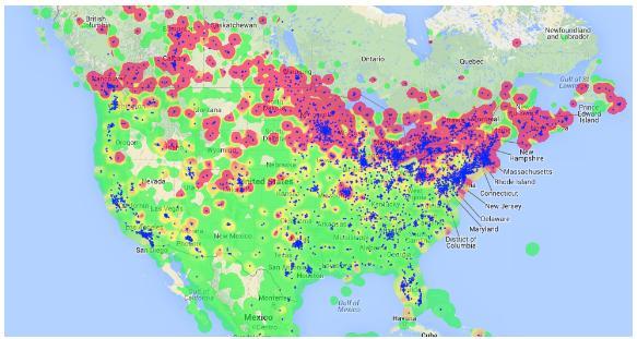 sports - american nations - hockey tweet map