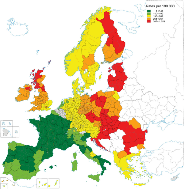 cardiovascular mortality rates - euro men - 2000