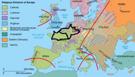 religious divisions of europe map + austrasia + hajnal line